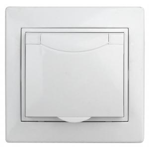 1-203-01 Intro Розетка 2P+E Schuko с крышкой, 16А-250В, IP20, СУ, Plano, белый (10/100/1500)