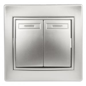 1-104-03 Intro Выключатель двойной, 10А-250В, IP20, СУ, Plano, алюминий (10/200/2400)