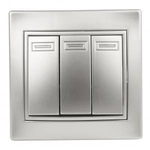 1-106-03 Intro Выключатель тройной, 10А-250В, IP20, СУ, Plano, алюминий (10/200/2400)