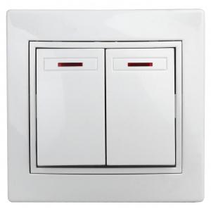 1-105-01 Intro Выключатель двойной с подсветкой, 10А-250В, IP20, СУ, Plano, белый (10/200/2400)