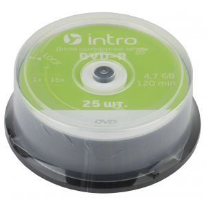 Intro DVD-R INTRO 16X 4,7GB  Cakebox 25 (25/300/14400)