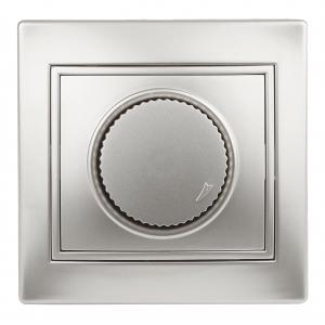 1-401-03 Intro Светорегулятор поворотный, 600Вт 230В, IP20, СУ, Plano, алюминий (10/200/2000)